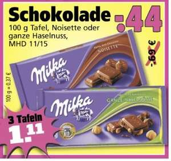 [Lokal Ramba-Zamba] 3 Tafeln Milka 100g Nosiette oder ganze Haselnuss 1,11€