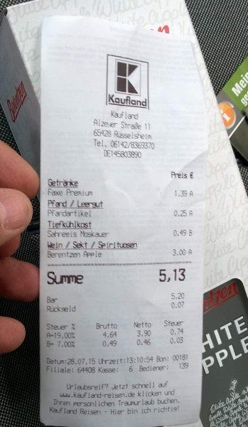 [Kaufland Rüsselsheim] Abverkauf Berentzen White Apple 25%, 0,7 Liter, 3,- Euro
