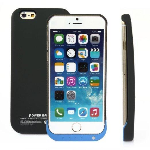 [Amazon-Prime] CoastCloud Für Apple iPhone 6 Zusatzakku Powerbank Powerpack Externer Akku & Flip Hülle (iPhone 6 Akku, schwarz mit blau)