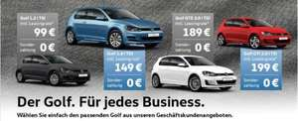 [LEASING] VW Golf 36 Monate, 0,- Anz., 10tkm/Jahr ab 99,- netto p.m. für Gewerbe