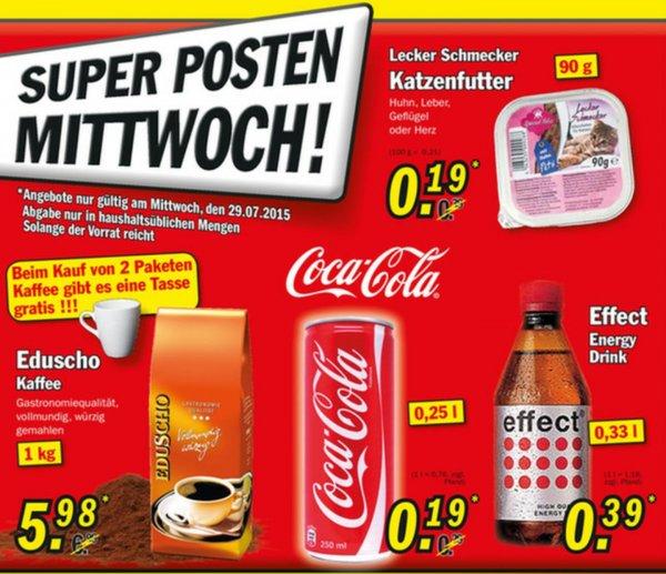 [Nur Mittwoch] Zimmermann Super Posten Coca Cola 250ml für 0,19€ oder effect Energy 330ml für 0,39 €