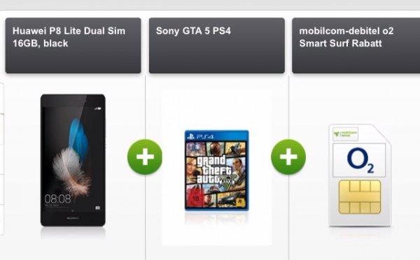 o2 Smart Surf + Huawei P8 Lite & weiteren Handys mit GTA 5 ab eff. nur 0,28 € mtl.