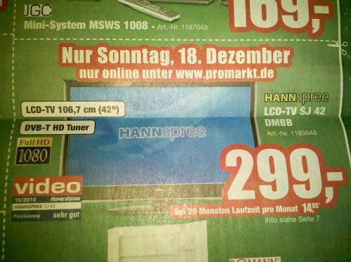 HANNspree SJ42DMBB für 299€ @promarkt.de am 18.12.