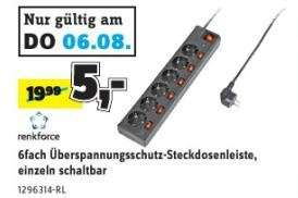 6fach Überspannungsschutz-Steckdosenleiste für 5€ @Conrad Filiale