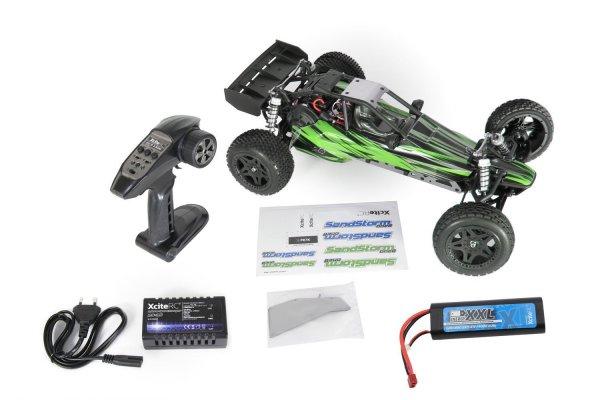 [Amazon-Prime] XciteRC 30206000 - Ferngesteuertes RC Modellauto Sand Storm one8 2WD RTR Dune Buggy, 2.4 GHz Brushless 11.1 V, M 1:8, grün