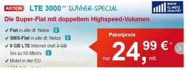 6 GB LTE, Tele-Flat, SMS-Flat, ohne Laufzeit, o2-Netz, 24,99€ mtl.