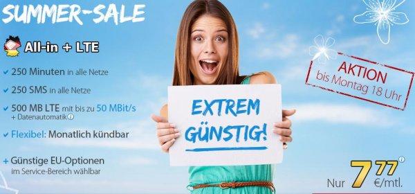 [o2/eplus] DeutschlandSIM LTE All-in LTE, Tel 250, Sms 250, 500MB, 7,77€ mtl. kündbar