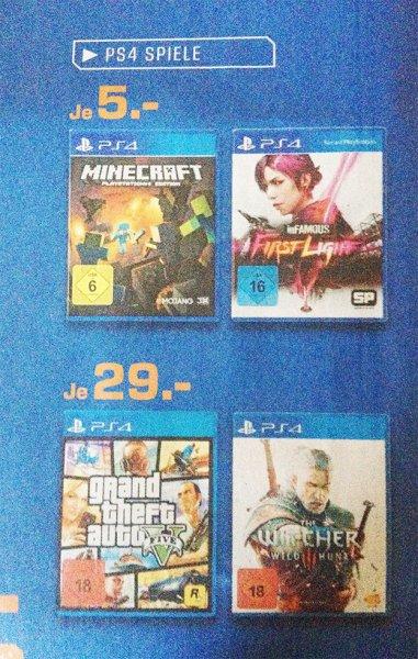 [LOKAL] Saturn Landshut/Freising PS4-Games: Minecraft / inFAMOUS FirstLight je 5€, GTA5 / The Witcher III je 29€