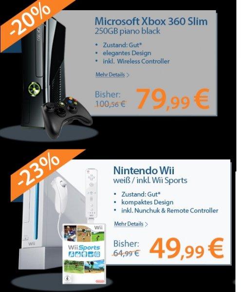 [Rebuy Afterwork Deal] Nintendo Wii inkl. Wii-Sports&Nunchuk&Remote-Controller - 48,98€ / Xbox 360 Slim 250Gb inkl. Controller 78,98€ - 18Monate Garantie