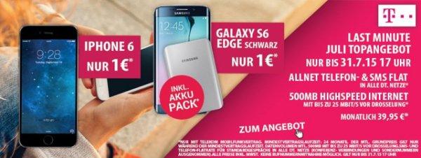 Preisbörse: iPhone 6 16 GB ohne Zuzahlung / Samsung S6 Edge mit Akku-Pack