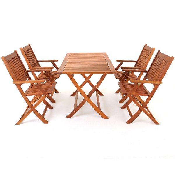 """5-teilige Sitzgruppe """"SYDNEY"""" aus robustem Akazienholz, Tisch und Stuhl klappbar, für nur 119 €, @Ebay"""