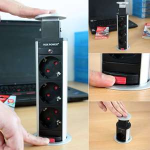 HUX POWER® Versenkbare Tisch-Steckdosenleiste