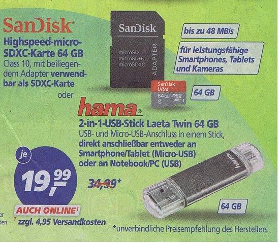 SanDisk Ultra Imaging 64GB microSDXC UHS-I Class 10 Speicherkarte inkl Adapter @real 19,99€