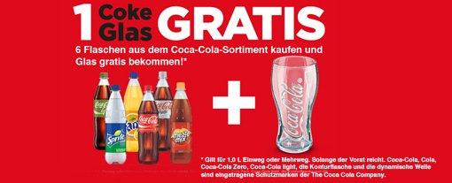 1 Coke Glas Gratis beim Kauf von 6 1L Coke Flaschen bei MyTime