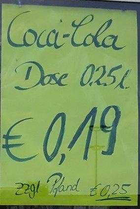Euroschmidt in Bielefeld Coca Cola 250ml für 0,19€