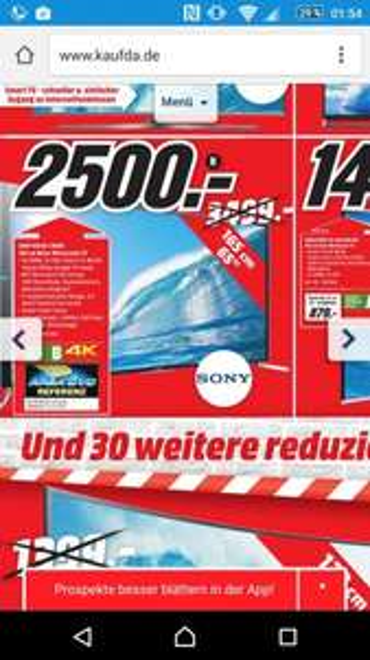 [Mediamarkt Ruhrpark Bochum] 1 von 1000 Angebot z.B. Sony KDL 65 S 9005 B - 2500 Euro