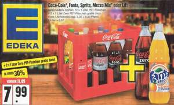 12 Flaschen Coca-Cola, Fanta, Sprite, Mezzo-Mix oder Lift + 2 Flaschen Zero für 7,99 € zzgl. Pfand [Edeka]