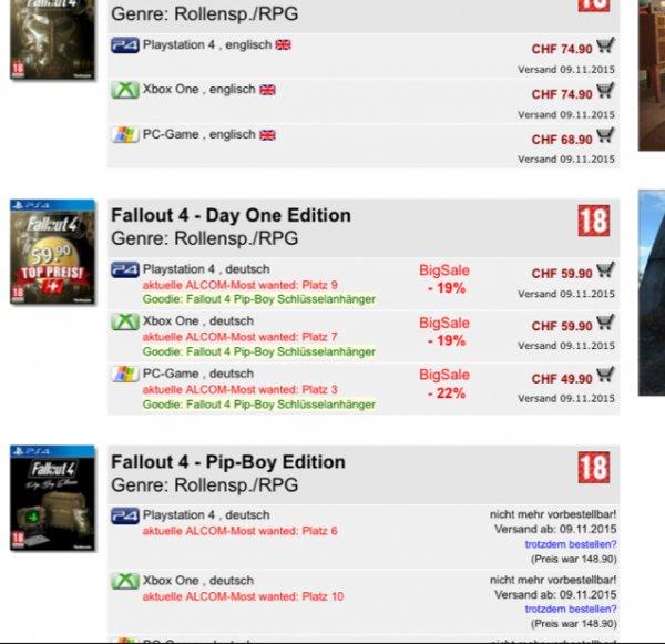 Fallout 4 für 59.90 PS4/XONE