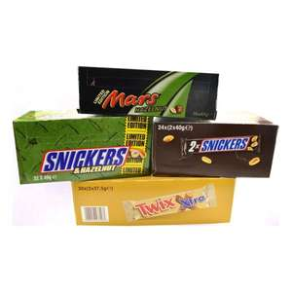 [MHD] Twix, Mars Haselnuss, Snickers Haselnuss und Snickers Kartons