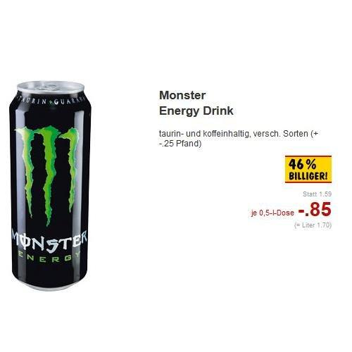 [Lokal? (Süddeutschland), Kaufland] Monster Energy Drink - versch. Sorten 0,85€ (+ -.25 Pfand)