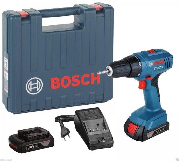 BOSCH Akku-Bohrschrauber GSR 1800 Li 2x Akkus 1,5 Ah Ladegerät Koffer 06019A8305 @ E-Bay