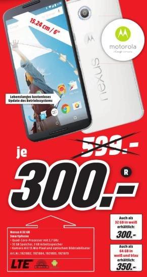 [Lokal Mediamarkt Herzogenrath] Motorola Nexus 6 Smartphone (15,2 cm (6 Zoll) Quad-HD-Display, 2x Frontlautsprecher, 2,7 GHz Quad-Core Snapdragon 805 Prozessor, 32GB interner Speicher, Android 5.0 Lollipop) für 300€