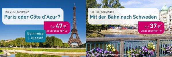 L'TUR Bahn: Schweden 37€ & Frankreich 47€ 1. Klasse *sehr großes Kontingent*