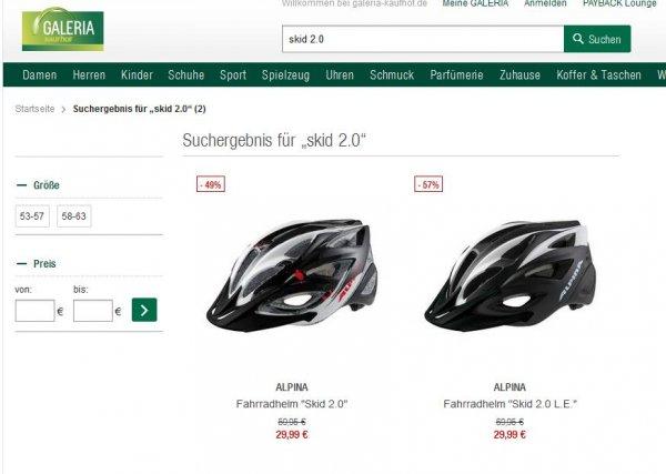 Alpina Skid 2.0 LE (58-63cm) / Skid 2.0 (53-57cm) Fahrradhelm mit NL-Anmeldung und Filiallieferung