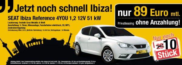 [LEASING, PRIVAT, BERLIN] Seat Ibiza, 4.5 Jahre, 0,- Anz, 10tkm/Jahr für 89,- Brutto