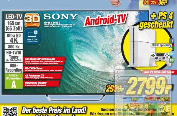 Sony KD65 X 8505C UHD 65 Zoll (Modell 2015) + PS4 (LOKAL ESSLINGEN)