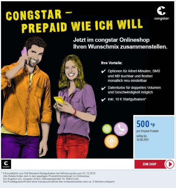 [Payback] 500 Payback Punkte für Congstar Prepaidkarte mit 10€ Startguthaben