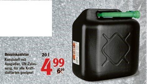[Globus-Markt] 20 Liter Benzinkanister mit Ausgießer für 4,99 Euro