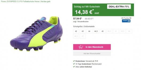 Vaola - 75% Gutschein aufs Outlet  zb. Puma Fußballschuh um 14,38€ +5,9€VSK