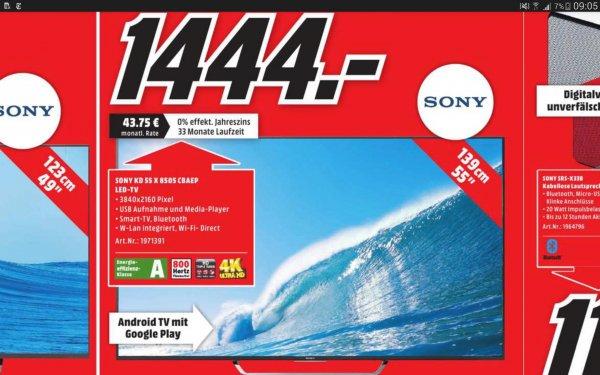 [MM Bad Kreuznach] Sony KD-55X8505C 4K, Ultra-HD, Twin-Sat, 3D, Triluminos, Android TV für 1444,00€