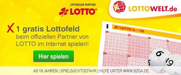 [Lottowelt] 1 gratis Lottofeld - Auch für Bestandskunden - Lotto