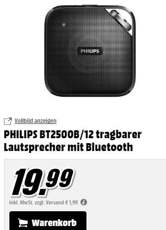 [MM online] Philips BT2500B Bluetooth Lautsprecher für 19,99€