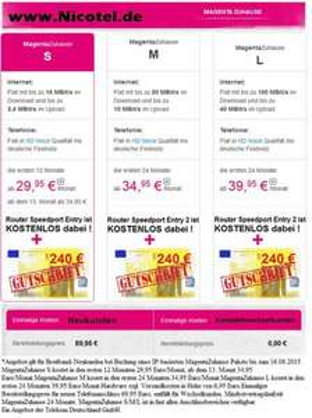 *WOCHENENDKNALLER* Nicotel zahlt bis zu 340,00 € Gutschrift ( gültig bis 09.08 23:59Uhr ) für Telekom MagentaZuhause Tarife ( auch Friends & Hybrid )