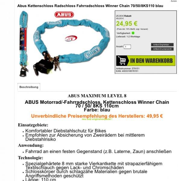 ABUS Kettenschloss 24,95 (inkl Versand)