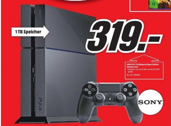 [Mediamarkt] Nur am 07.08 und 08.08/Sony Playstation 4 / PS4 - 1TB Ultimate Player Edition (schwarz) für 319,-€*Update*.Zudem 20% auf alle vorrätigen PS4 Consolen und Bundles.*Update 3*** Weiße Version 500 GB für 295,-€