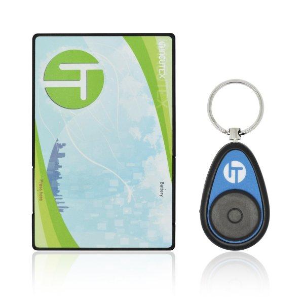 [Amazon-Marktplatz] Incutex Schlüsselfinder mit Transmitter im Kreditkarten Format, Hilfe zum Aufspüren von Schlüssel, Blau
