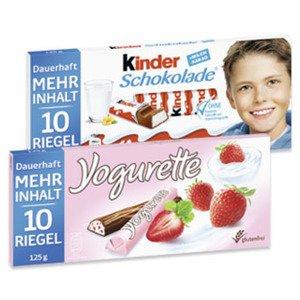 [GLOBUS] Kinder Schokolade oder Yogurette 10 Stück für 0,69€