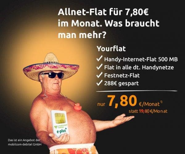 Allnet Flat 500mb e+  7,80€ Crash mobilcom Debitel