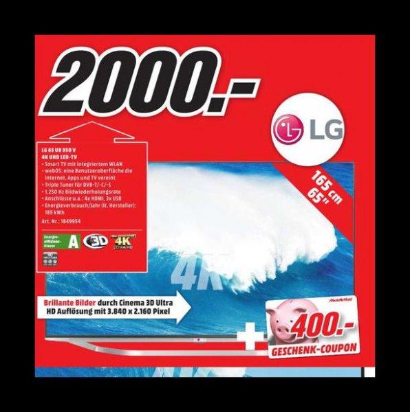 LG 65 UB 950V 4k für 2000€ incl 400€ Media Markt Gutschein @ Media Markt Ludwigsburg bis 08.08.15