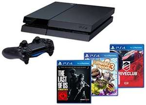 (Amazon.de) PlayStation 4 - Konsole (500GB) inkl. DriveClub, Little Big Planet 3 und The Last of Us: Remastered für 340,20€ und die Normale PS4 für 308,02€