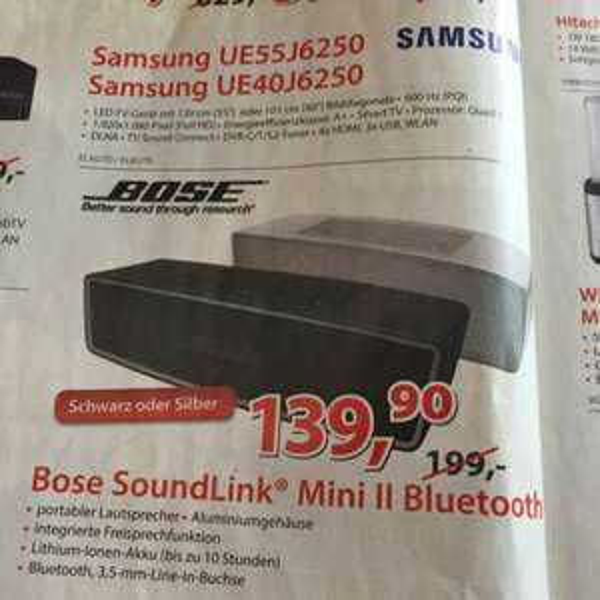 [Alternate, lokal] Tiefstpreis Bose Soundlink Mini 2 beide Farben