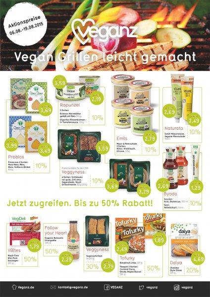 VEGANZ Angebote: Aktionspreise bis zum 19.08.2015: Viele vegane Lebensmittel: 10-50% reduziert (Bundesweit in VEGANZ-Filialen sowie in gut sortierten Filialen der Partner EDEKA, Globus, Metro, Netto, Kaiser's / Tengelmann und DM)