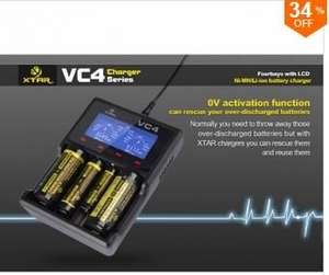 XTAR VC4 LCD Screen USB Battery Charger For 18650 26650 14500 Battery @ Banggood