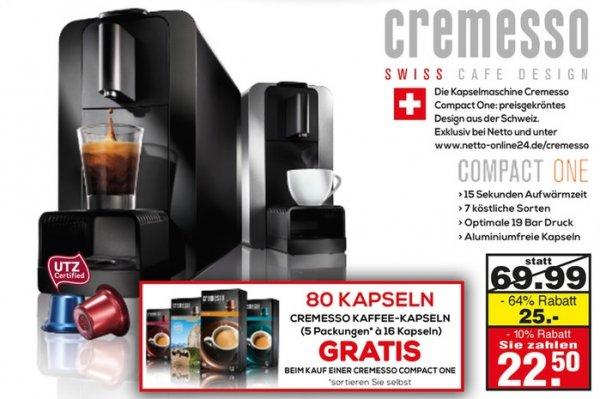 [lokal Netto Düsseldorf-Eller] 10% auf alles zb. Cremesso Compact One + 80 Kapseln für 22,50€