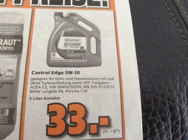 Castrol Edge 5l 5W-30 Longlife @ Globus Baumarkt