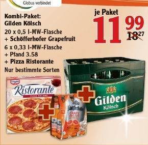 [Globus Köln-Marsdorf] Kombi-Paket Gilden Kölsch 20x0,5l + Schöfferhofer Grapefruit 6x0,33l + Pizza Ristorante für 11,99€ satt 18,27€